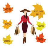 Girls with shopping bags, autumn sale Royalty Free Stock Photo
