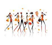 Girls with shopping bags, autumn sale for your stock illustration