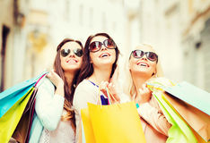Girls with shopping bags in ctiy Stock Photography