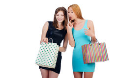 Girls with shopping bags Royalty Free Stock Image