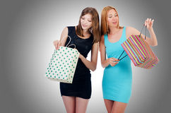 Girls with shopping bags Stock Photography