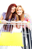 Girls with shopping cart Royalty Free Stock Photos