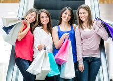 Girls at the shopping center Stock Photography
