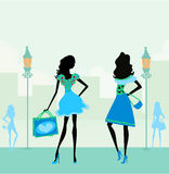 girls shopping in the city Stock Image