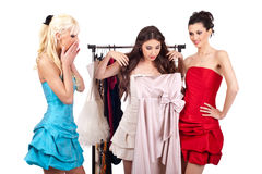 Girls shopping dress Royalty Free Stock Photo
