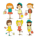 Girls Shopping Fashion Stock Images