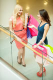 Girls in the shopping mall. Stock Photo