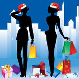 Girls with shopping. Royalty Free Stock Image