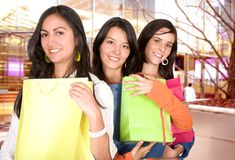 Girls in a shopping spree Royalty Free Stock Photography