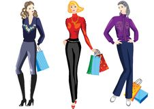 Girls on shopping. Stock Photo