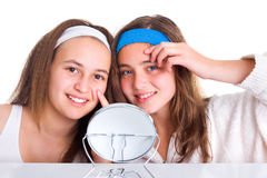 Girls showing the blemishes on theirs skin. Teenager girls showing the blemishes on theirs skin Stock Image