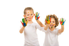 Girls showing colorful hands Royalty Free Stock Image