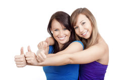 Girls showing thumbs uo Royalty Free Stock Image