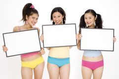 Girls With Signs Stock Photos