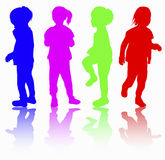 Girls silhouette happy Royalty Free Stock Images
