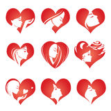 Girls silhouette in hearts, vector icons Stock Photography