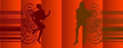 Girls Silhouette Red Curtains. Girls Silhouette On Red Curtains Background. Vector Illustration. No Meshes Stock Photos