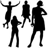 Girls Silhouettes 05 Stock Images