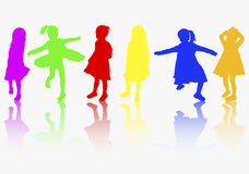 Girls silhouettes color Royalty Free Stock Image