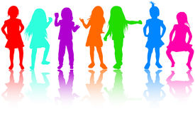 Girls silhouettes Royalty Free Stock Photos