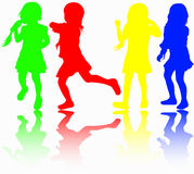 Girls silhouettes. Happy girls dancing Royalty Free Stock Image
