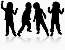 Girls silhouettes. Happy girl dancers Royalty Free Stock Images