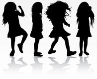 Girls silhouettes Stock Photography