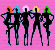 Girls silhouettes on pink Stock Image