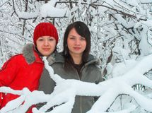 Girls simply cost in a snowdrift and look in a camera. Fashionable little girls in a wood Stock Photo