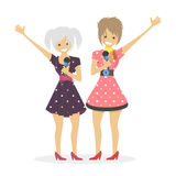 Girls singer singing song .Duet women. Character vector flat illustration people. Royalty Free Stock Photo