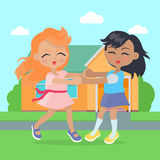 Girls Singing, Dancing in Ring near Cottage House. Royalty Free Stock Photo