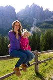 Girls sister at the Dolomites Stock Photo
