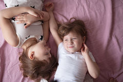 Girls sisters siblings play, hug, relationships sisters, Royalty Free Stock Image