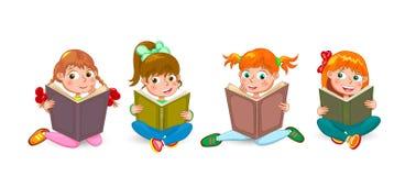 Little children read interesting books Stock Photos