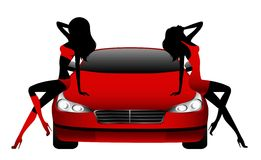 Girls sitting by the car Royalty Free Stock Image