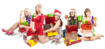 Girls sitting with gifts Royalty Free Stock Image