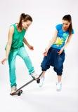 Girls with skateboard Stock Photo