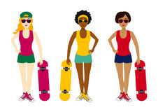 Girls with skateboard vector. Cartoon girls. Group of young girls on a white background Stock Image