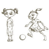 Girls sketches. Girl standing and girl playing with ball Stock Image