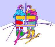 Girls on ski lift Stock Photos
