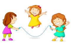 Girls Skipping. Editable vector illustration of girls doing skipping Stock Images