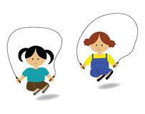 Girls skipping. Two girls skipping (playing together) with skip rope Royalty Free Stock Images