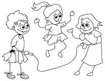 Girls skipping. A line art funny cartoon of skipping girls Royalty Free Stock Images