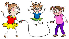 Girls skipping. A line art funny cartoon of skipping girls Stock Images
