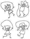 Girls skipping. Line art funny cartoons of skipping girls Royalty Free Stock Images