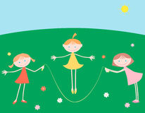 Girls with a skipping rope. Vector image of the cheerful girls playing in a summer day Royalty Free Stock Photos