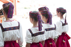 Girls in Slavonic national costumes. Royalty Free Stock Photos