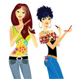 Girls smarten up. Colorful  illustration of cheerful girls with cosmetics Royalty Free Stock Photography