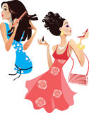 Girls smarten up. Colorful  illustration of cheerful girls with cosmetics Stock Photos