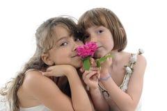Girls smelling rose Stock Photo